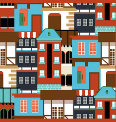 Old house seamless pattern modern cottege vector