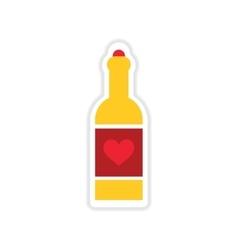 Paper sticker on white background heart bottle vector