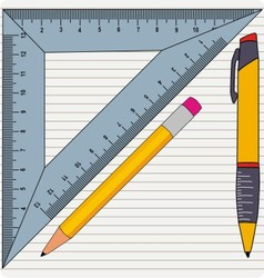 Pencil with ruler vector image vector image