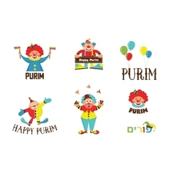 Purim template design set with clowns jewih vector