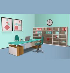 Realistic office interior big boss vector