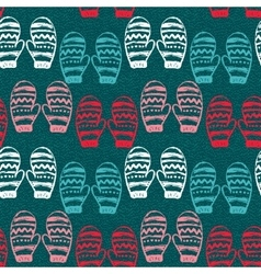 Seamless pattern with hand drawn mittens vector image vector image