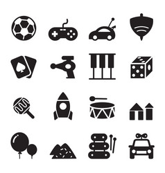 Silhouette toy icons vector