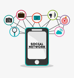 Smartphone and icon design social network design vector