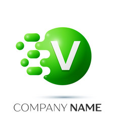 V letter splash logo green dots and circle bubble vector