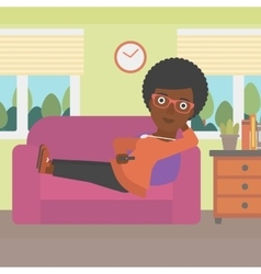 Woman lying on sofa vector