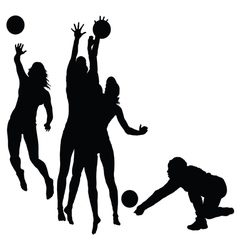 woman play volleyball silhouette vector image vector image
