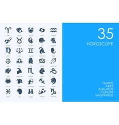 Set of blue hamster library horoscope icons vector