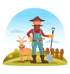 Farmer man with spade and goat on field vector