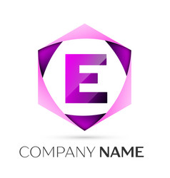 letter e symbol in the colorful hexagonal vector image