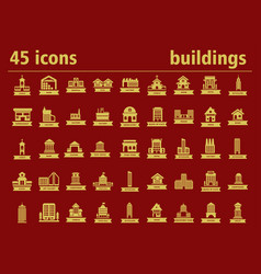 Building icons city and industrial buildings vector