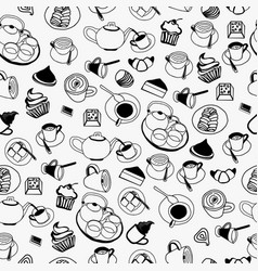 pattern of collection set with teapot coffee vector image