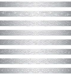 Silver element border design vector