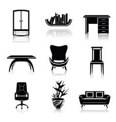 Furniture black icons vector