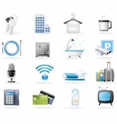 Hotel accommodation amenities vector