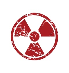 Red grunge nuclear logo vector image