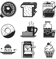 Breakfast black icons vector