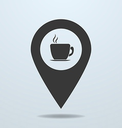 Map pointer with a cup vector