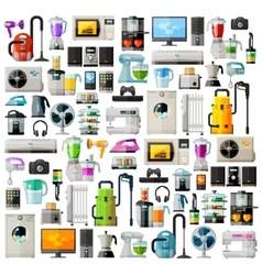 Appliances a set of colored icons Collection of vector image