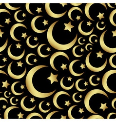 Gold islam star and crescent religion seamless vector