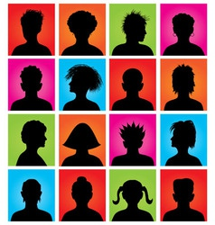 16 anonymous colorful avatars vector image