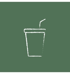 Disposable cup with lid and drinking straw icon vector