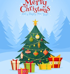 Christmas tree with gifts celebration postcard vector
