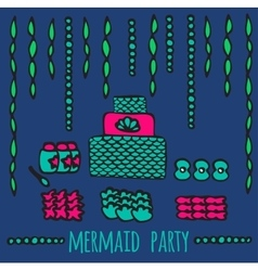 Mermaid party elements underwater kids party vector
