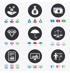 Money cash and finance icons Savings sign vector image