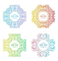 patterns set in trendy mono line style vector image