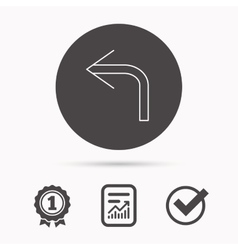 Turn left arrow icon previous sign vector