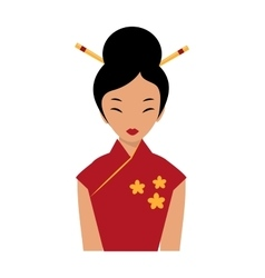 Beautiful chinese girl in traditional cheongsam vector image