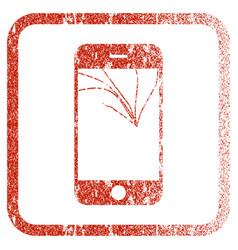 Broken smartphone screen framed textured icon vector