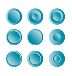 Button round with gradient set vector