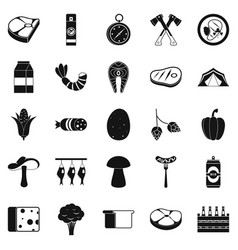 Camping trip icons set simple style vector