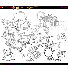 cartoon farm animals for coloring vector image vector image