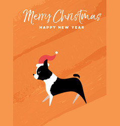 Christmas and new year holiday boston terrier dog vector