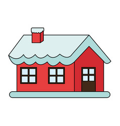 Color image cartoon christmas house with snow and vector