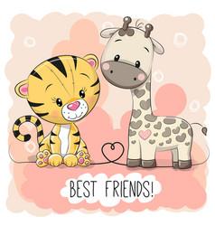 Cute tiger and giraffel vector
