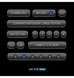 Dark User Interface Controls Web Elements vector image