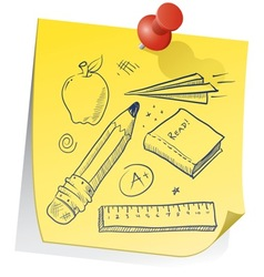 doodle sticky note school vector image vector image
