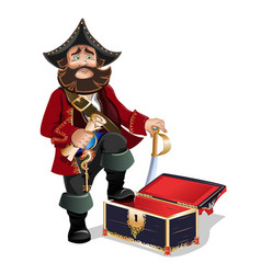 Empty treasure chest and pirate vector