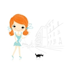 Girl with dog on street sketch for your design vector