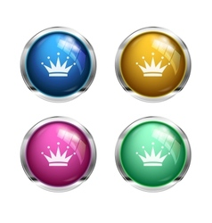 Glossy crown buttons vector image