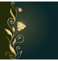Golden floral ornament on green background vector image