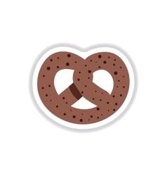In paper sticker style bagel vector