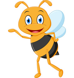 Little bee cartoon presenting vector