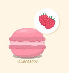 Macaroon with raspberry taste vector