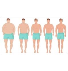 Man diet concept Men slimming stage progress vector image