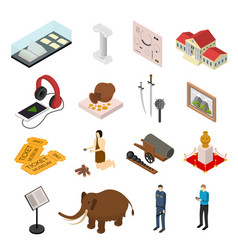 museum exhibits galleries set isometric view vector image